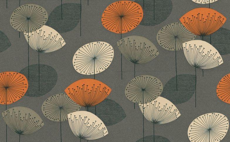 Dandelion Clocks By Sanderson Slate Wallpaper Dopwda103 In 2020 Dandelion Clock Clock Wallpaper Grey Orange Wallpaper
