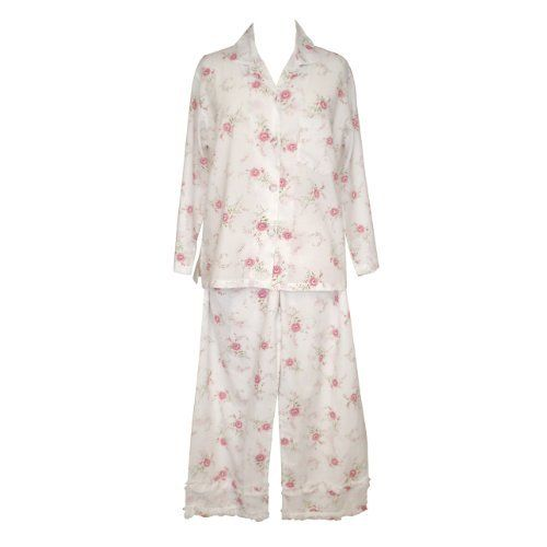 The Irish Linen Store Katie Pajamas WIth Lovely Floral Pattern Fabric.