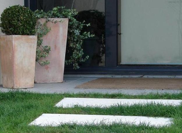Dalle pas japonais rectangulaire; pas de jardin grenaillé, en pierre ...
