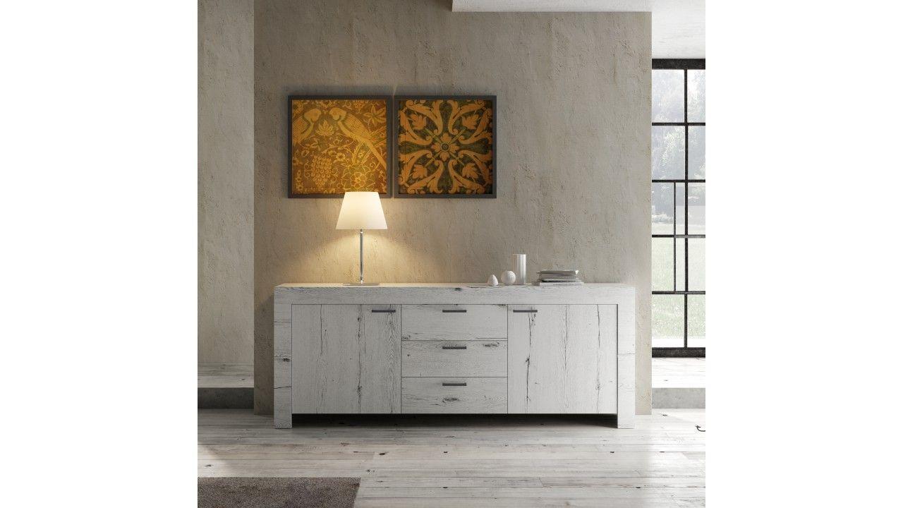 bahut design en chene blanchi