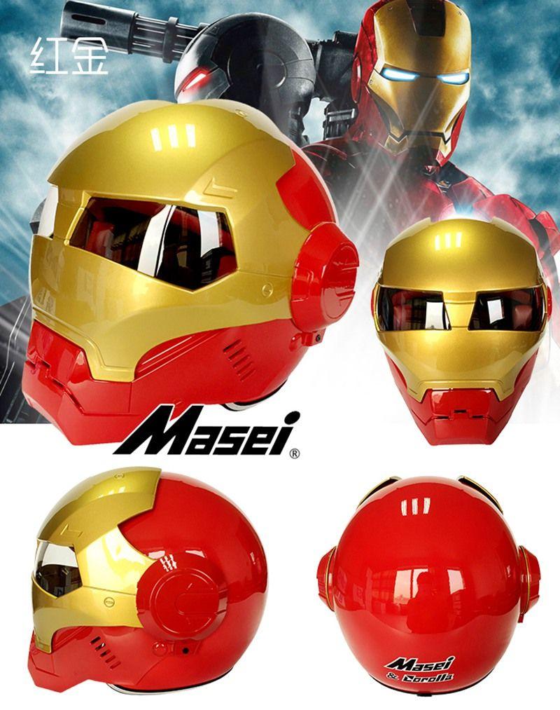 Masei Ktm Bike Scooter Moto Red Golden Classic Iron Man Helmet