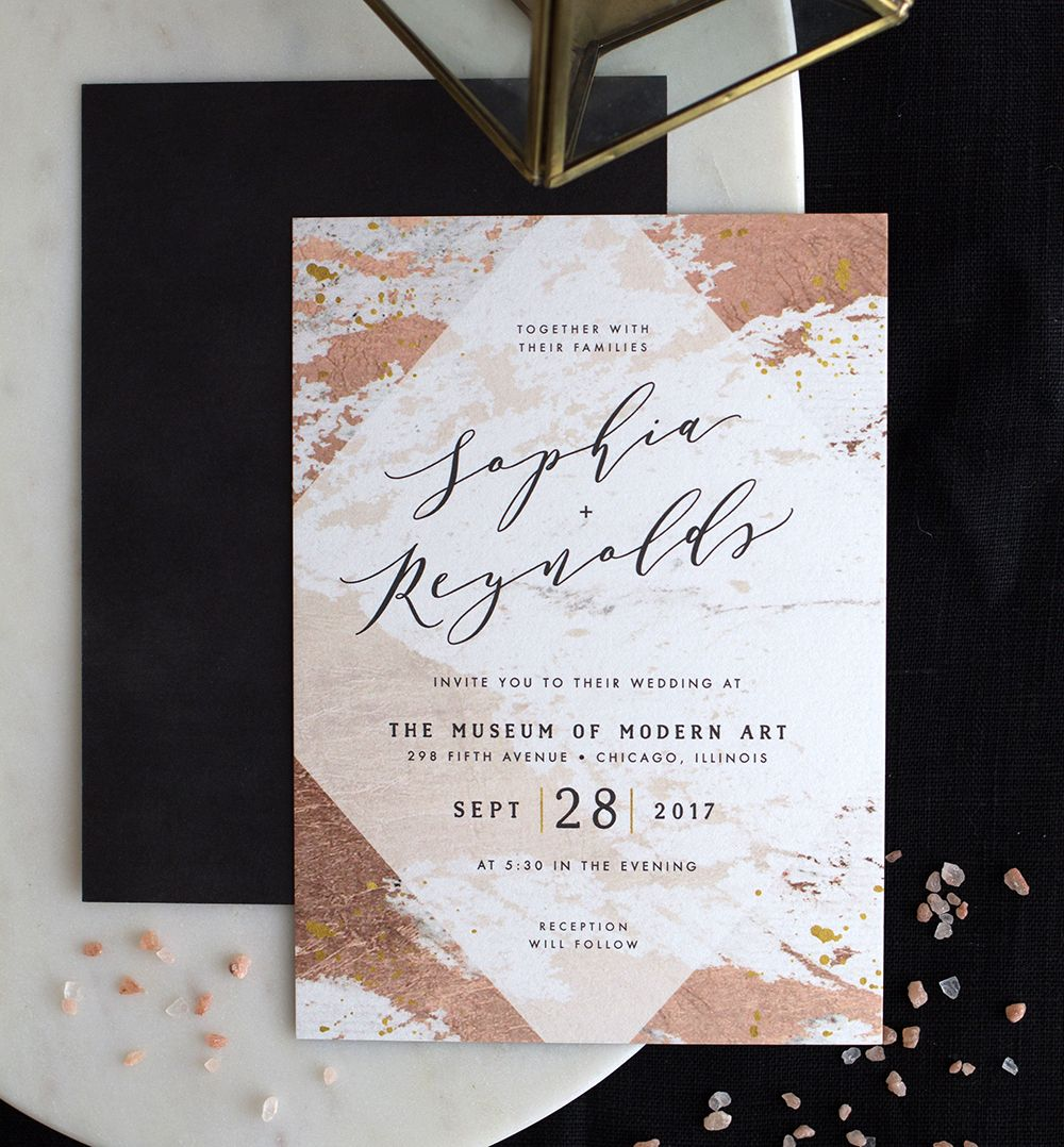 Modern Abstract Wedding Invitation In Rose Gold Wedding Invitation Cards Modern Wedding Invitations Templates Modern Wedding Invitation Wording