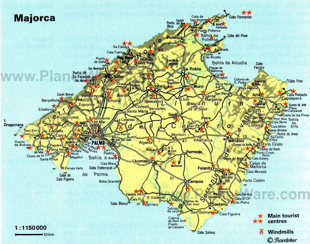 Majorca Map Tourist Attractions Mallorca Alcudia Ibiza
