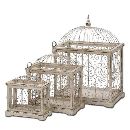 Urban Designs Weathered Off-White Decorative Metal Bird Cages - Set
