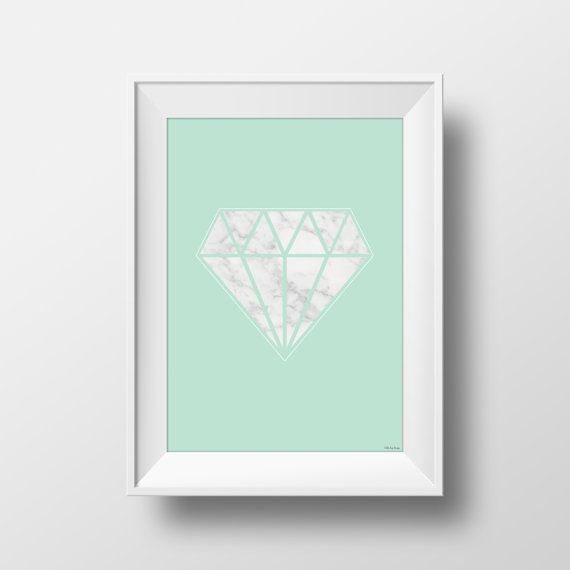 Marble Diamond on Mint background printable by LittleIzzyDesigns
