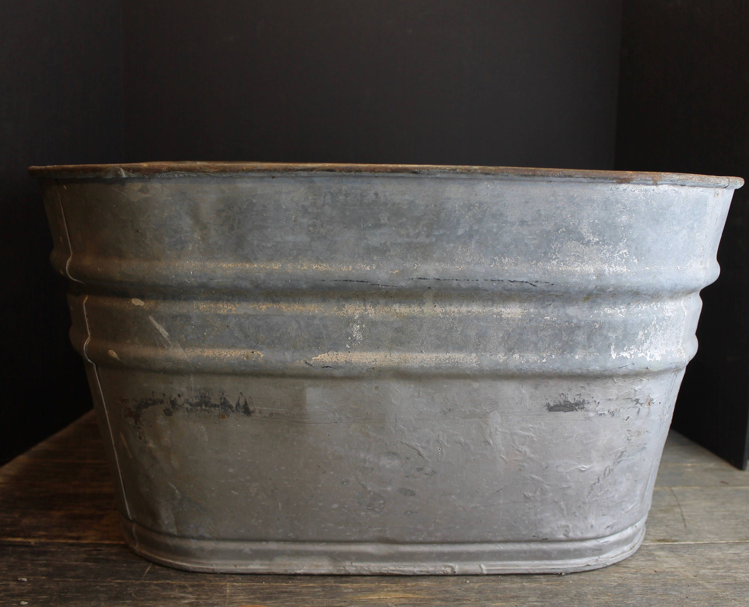 Vintage Large Square Zinc Galvanized Basin With Handles Rustic Wine Cooler Planter Wash Tub By Mybarn On E Wash Tubs Vintage Large Rustic Farm Wedding