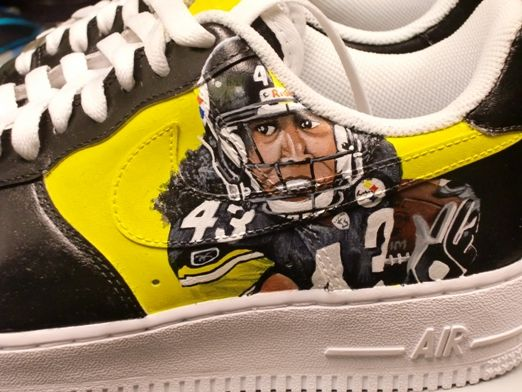 06c8a6c6e2c77d ... pittsburgh steelers Troy Polamalu Nike Air Force One Shoes Yo....you  can my custom made nike shox ...