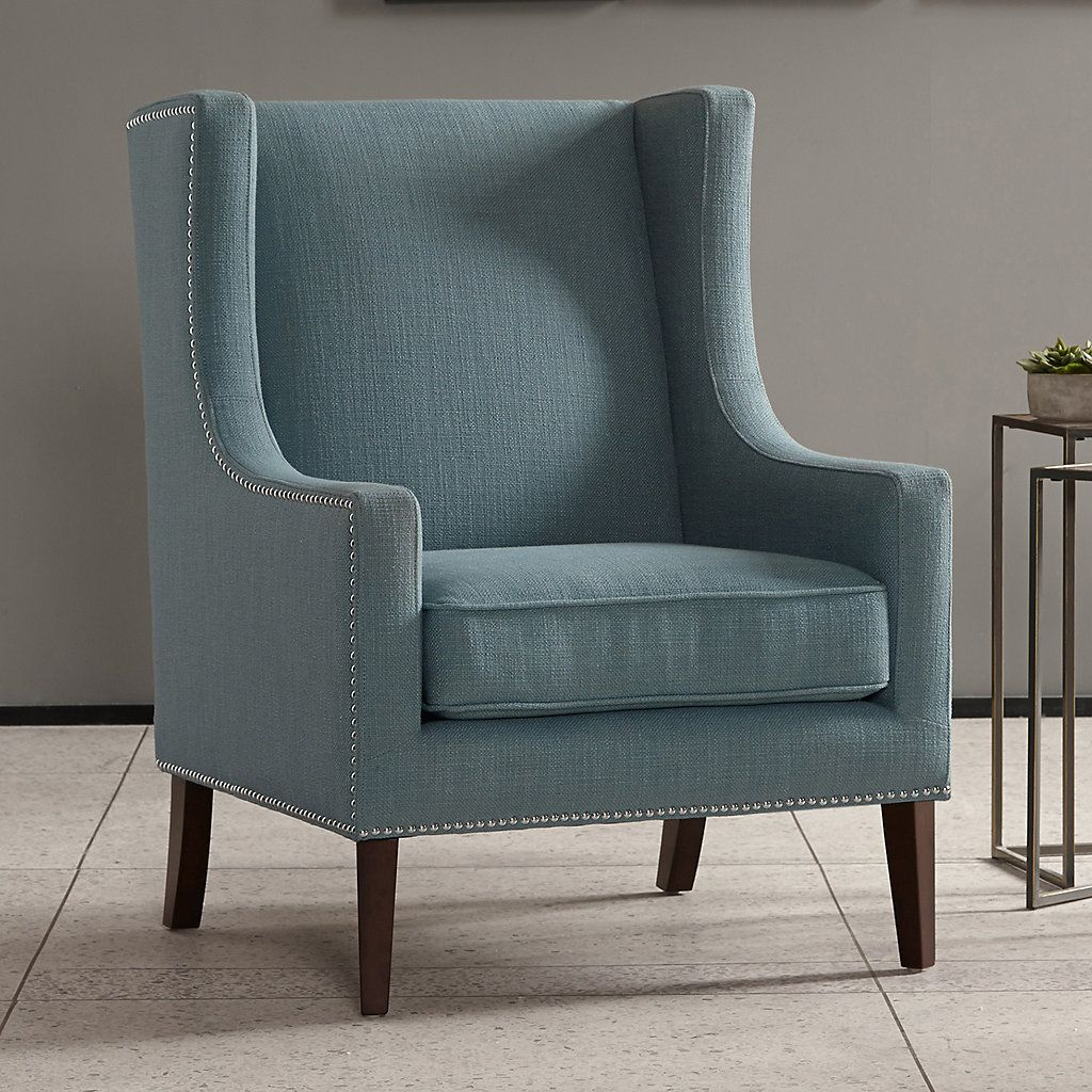 Best Madison Park Barton Print Accent Chair Blue Accent 400 x 300