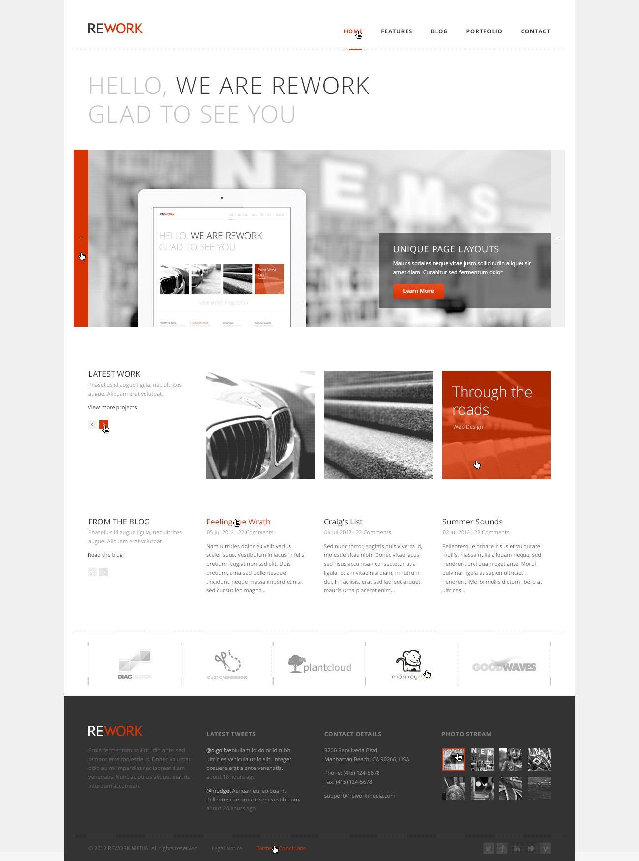 REWORK - Responsive HTML5/CSS3 Template | Pinterest | Psd templates ...