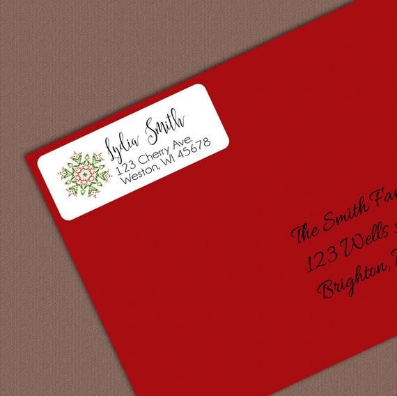 christmas address labels snowflake