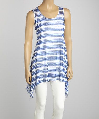 Look what I found on #zulily! Navy Stripe Sidetail Top by La Moda Clothing #zulilyfinds