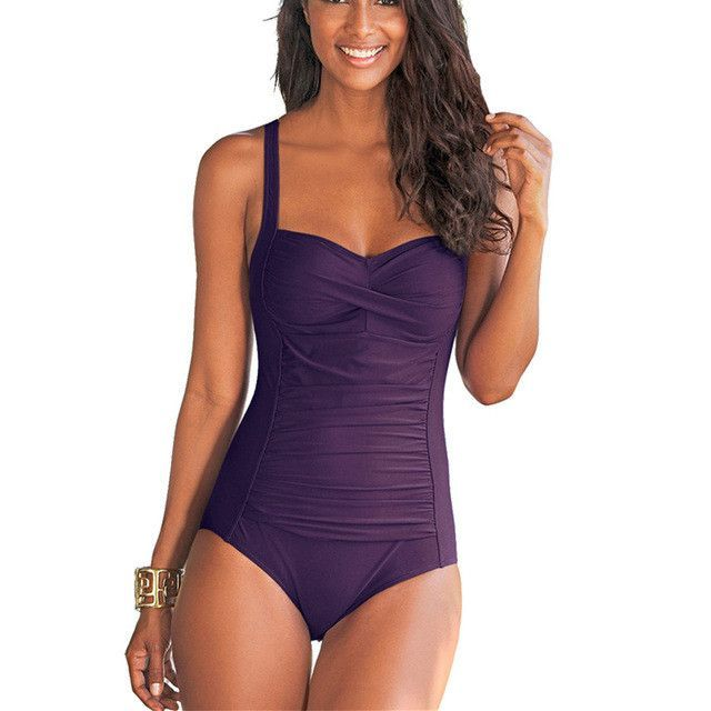plus size one piece solid monokini bodysuit | products