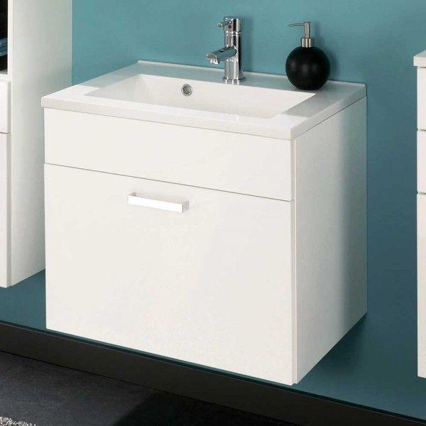 Waschtischunterschrank Spanola in Weiß Hochglanz 60 cm breit