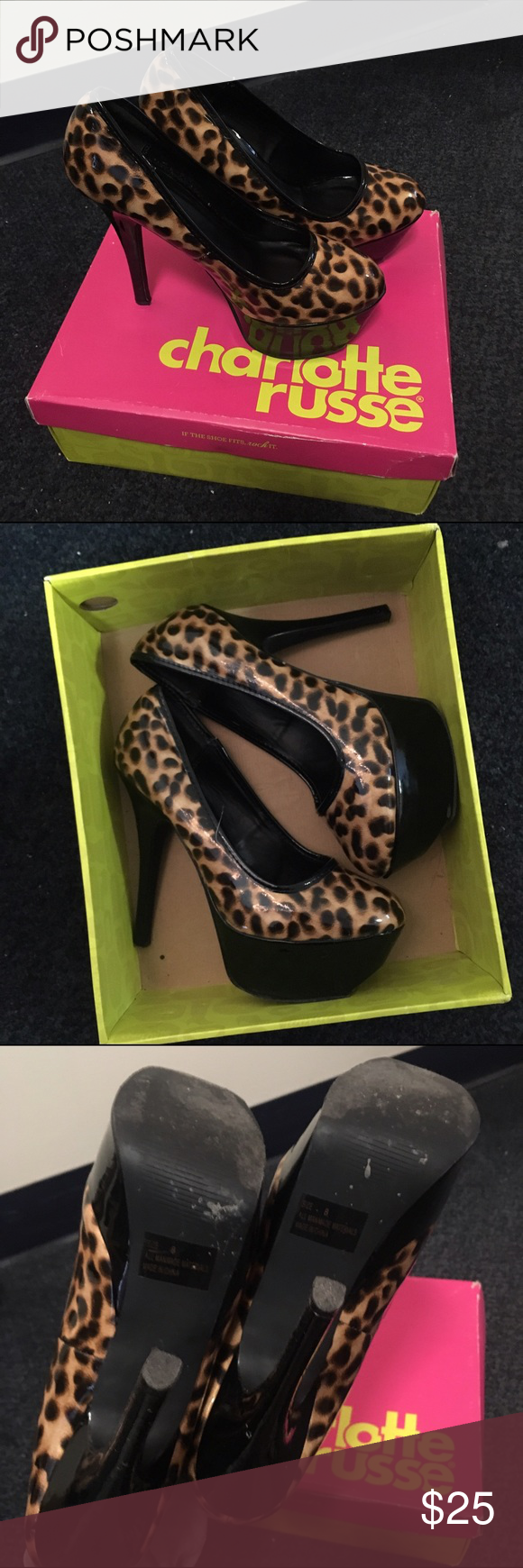 Cheetah Print Pumps In good condition, gently warn. They are perfect for a night out and the heel is very high (including the platform). Comment below if you have any questions! Charlotte Russe Shoes Heels