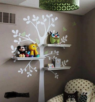Love The Idea Of Tree Shelves But This Seems MUCH Simpler And More Cost Effective Wall Decals Baby Nursery Decor Shelving Decal By SimpleShapes