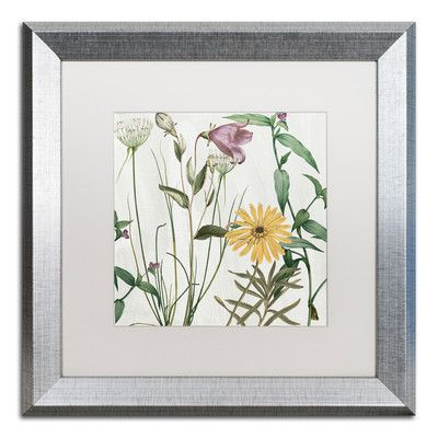 "Trademark Art 'Softly I' by Color Bakery Framed Graphic Art Mat Color: White, Size: 16"" H x 16"" W x 0.5"" D"