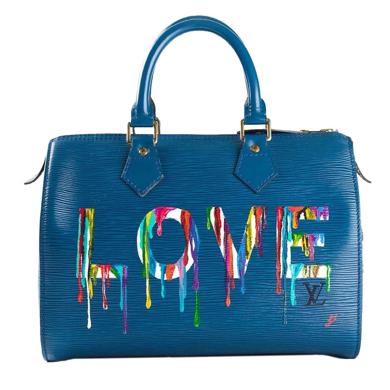 Louis Vuitton Hand Painted Blue Epi Speedy Bag   Bag Lady ... 40ad38526a3
