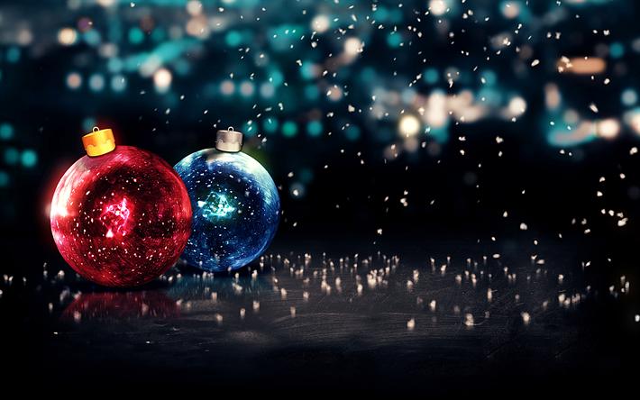 Download wallpapers xmas balls, 4k, Happy New Year