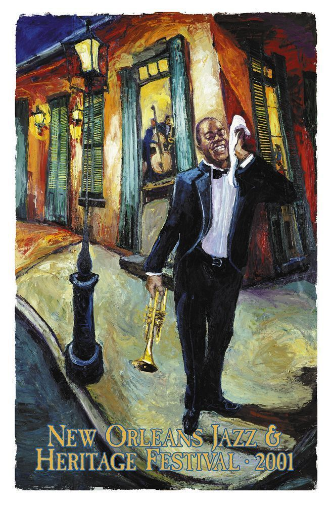 2001 NOJF poster Louis Armstrong by Michalopoulos Jazz