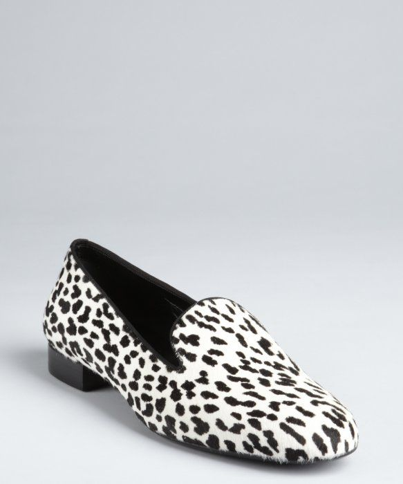 d966981bc7a8 Saint Laurent : snow leopard printed calf hair and leather loafers ...