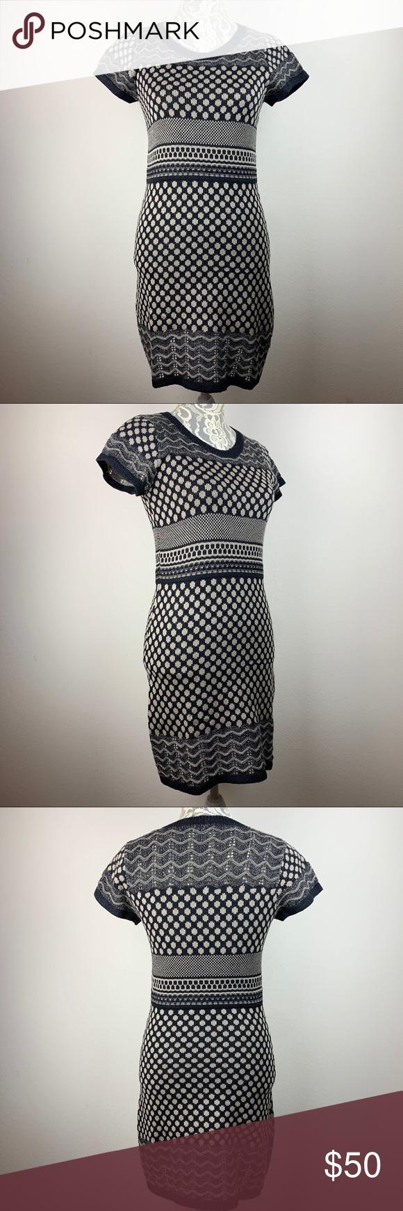 Thml Geometric Short Sleeve Sweater Dress M Short Sleeved Sweaters Sweater Dress Dresses [ 1740 x 580 Pixel ]