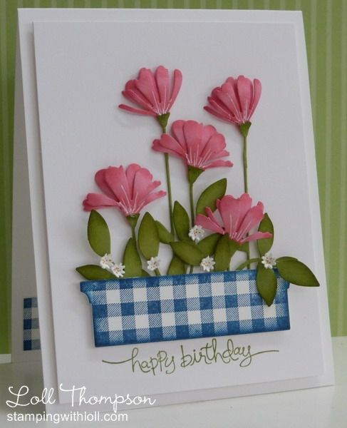 Gingham And Flowers Greeting Cards Handmade Beautiful Handmade