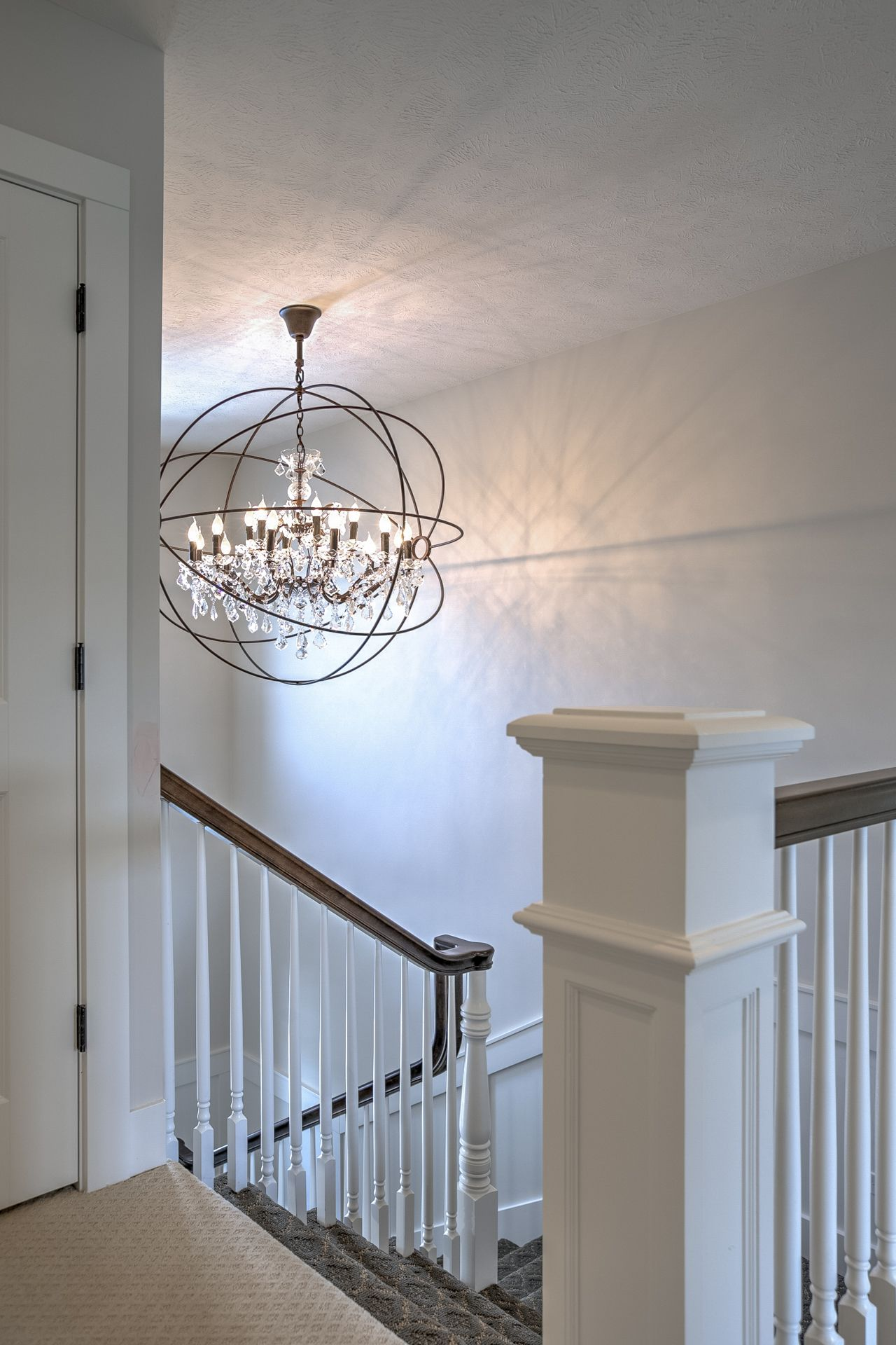 globe chandelier entry way light fixture. Staircase. www ...