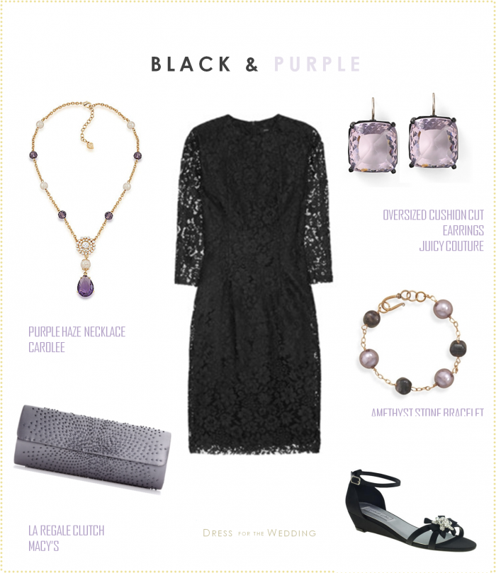 Black and white dress with purple accessories