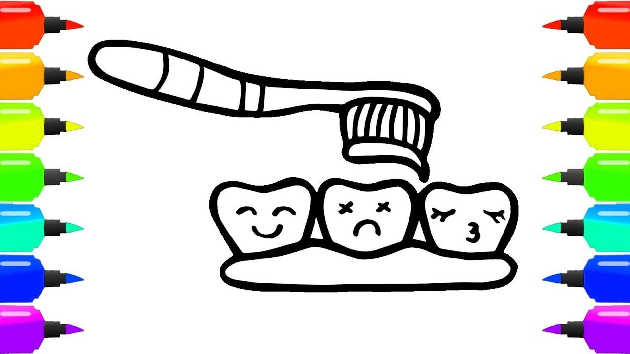 Tooth Coloring Pages For Kids How To Draw Coloring Book Teeth Lips Toothbrush And Toothpaste