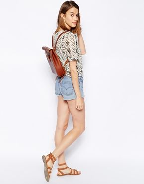 Enlarge Chloe Stanyon Roll Top Leather Backpack in Tan ...
