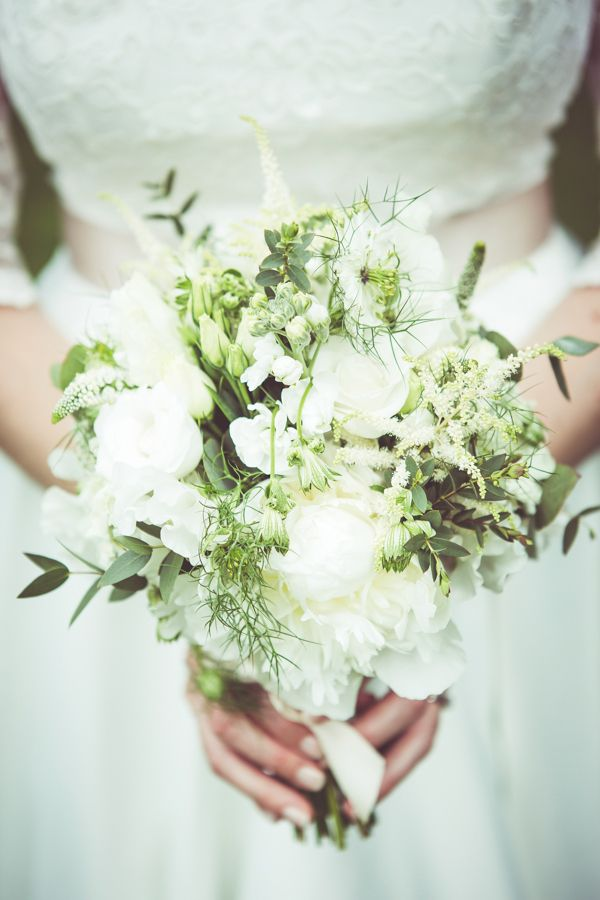 Eccentric Outdoorsy Homemade Wedding White Bouquet Stocks Spray Roses Lisianthus Peonies Lavender