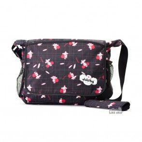 Full flap multi pocket messenger, red girls messenger bag, black nylon purse - nylon bag shop