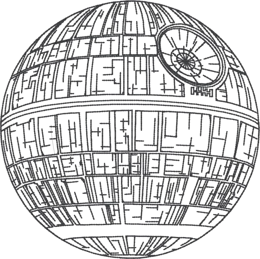 Star Battles Space Tyrants Battle Station 4x4 Machine Embroidery Design Star Wars Art Star Coloring Pages Machine Embroidery