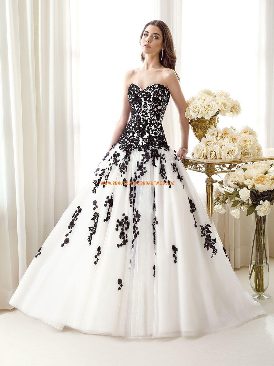 12 Klassische Brautkleider aus Satin A-Linie mit Applikation