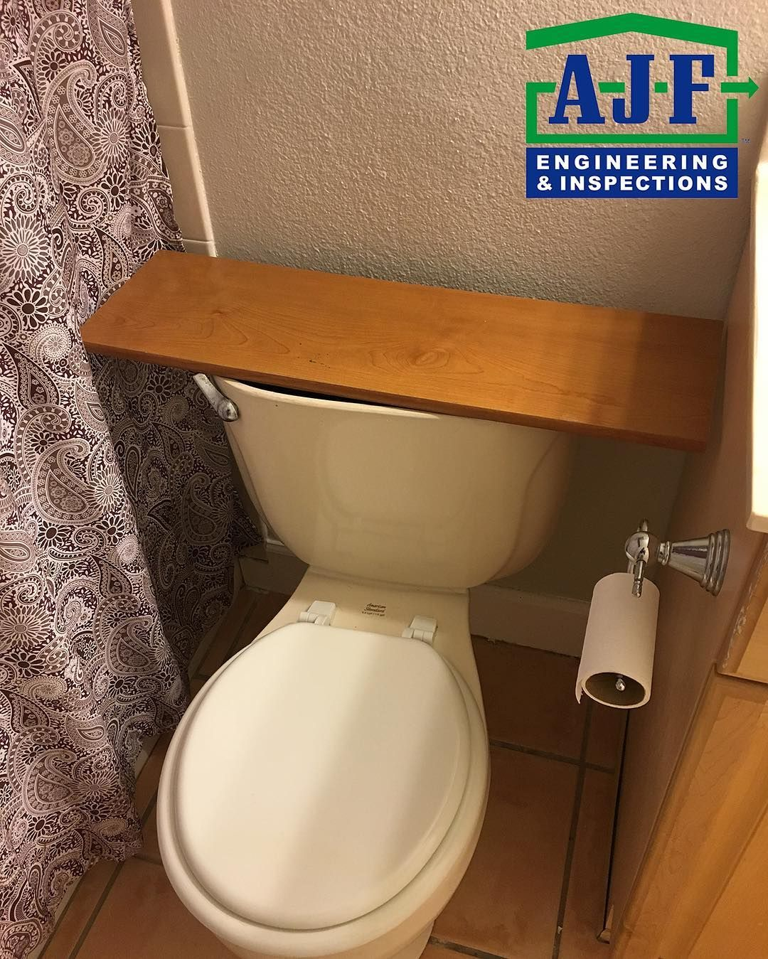 Have You Ever Lost Your Toilet Tank Lid Just Put A Board Over It And Call It A Custom Shelf Yourinspectionconnection W Toilet Tank Toilet Tank Lids Toilet