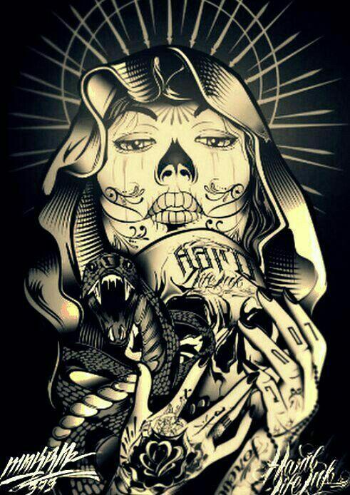 Cholos Cholas Azteca Tattoo Graffiti Gangster Weed Cannabis Charra ...