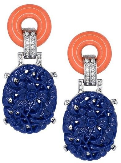 Kenneth Jay Lane Black And Lapis Art Deco Pierced Earring Black/lapis uIuDp8rf