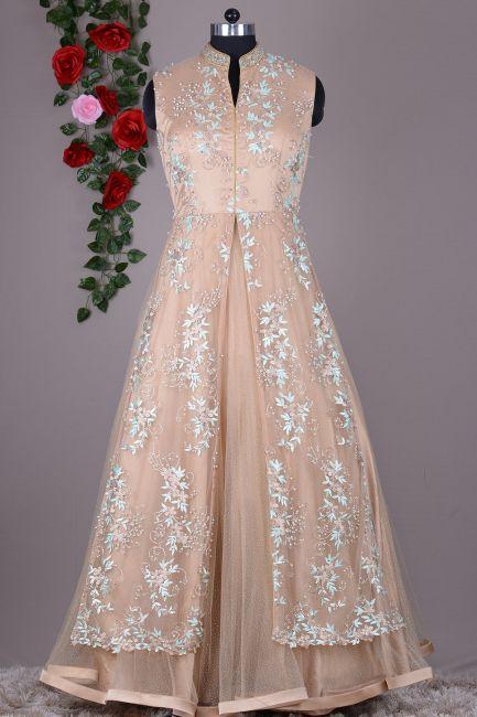 Ecru Brown Zari Embroidered Net Indo Western Gown-VI1269 | Westerns ...