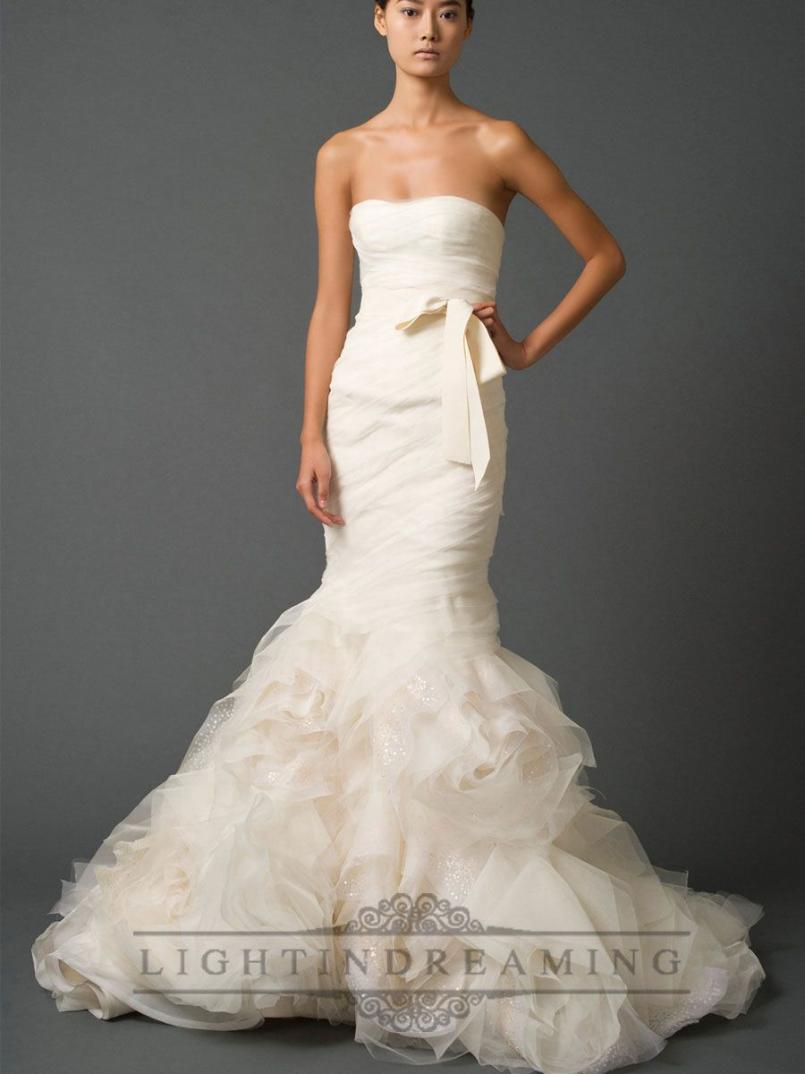 Strapless sweetheart trumpet pleated wedding dresses with low back