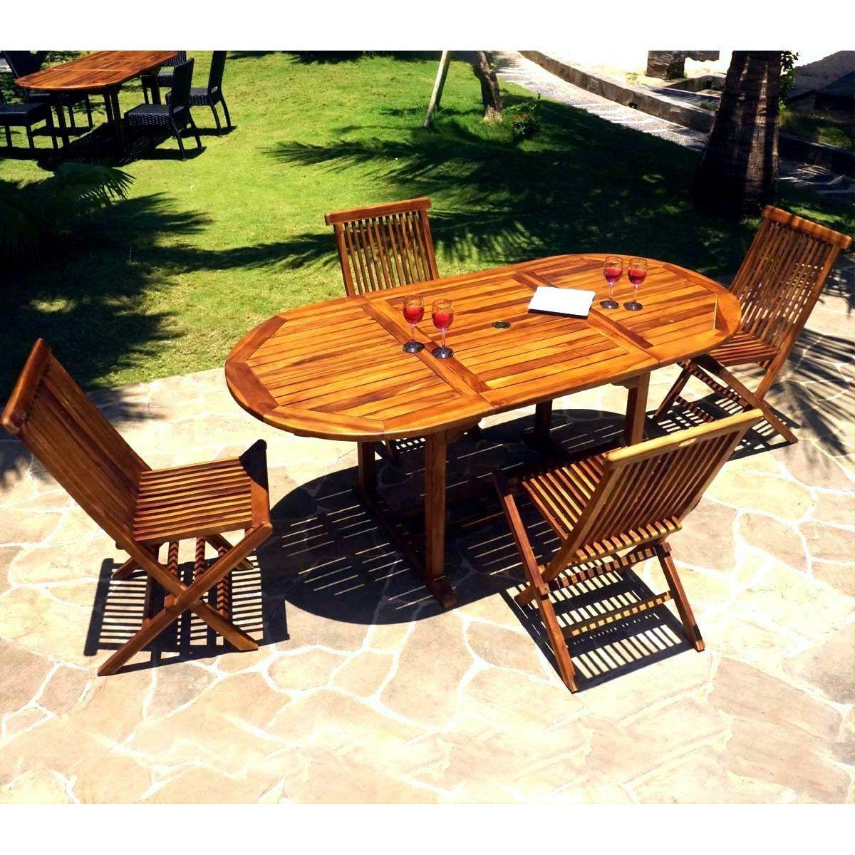 Salon De Jardin 4-8 Places En Teck Huilé - 4x Chaises ...