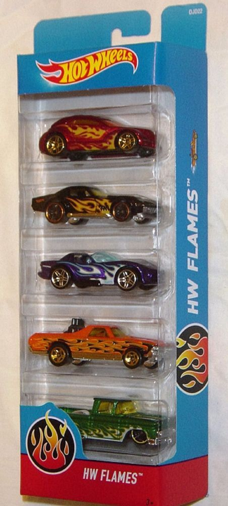 Two Flame Laden Pickup Trucks And Three Powerful Racing Cars With Fire On Their Side Make Up This Hot Wheels F Hot Wheels Cars Hot Wheels Hot Wheels Race Track
