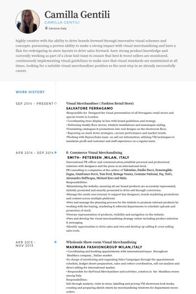 visual merchandiser  fashion retail store Resume Example  Visual Merchandising  Resume