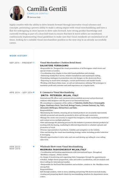 Visual Merchandiser Fashion Retail Store Resume Example Retail Resume Examples Visual Merchandising Resume Examples