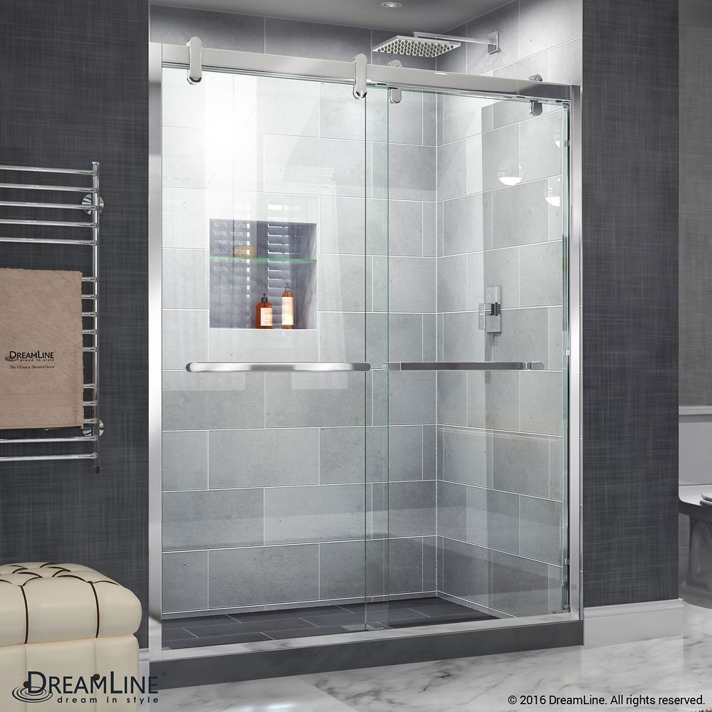 Cavalier 56 Inch To 60 Inch X 77 375 Inch Frameless Bypass Shower