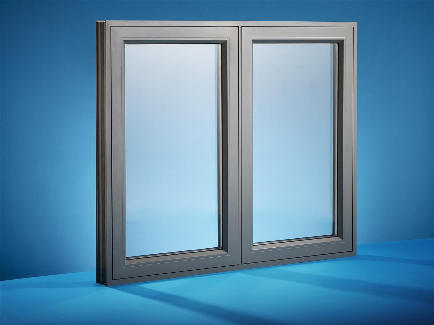 dark grey powder coated aluminium casement window 14411080