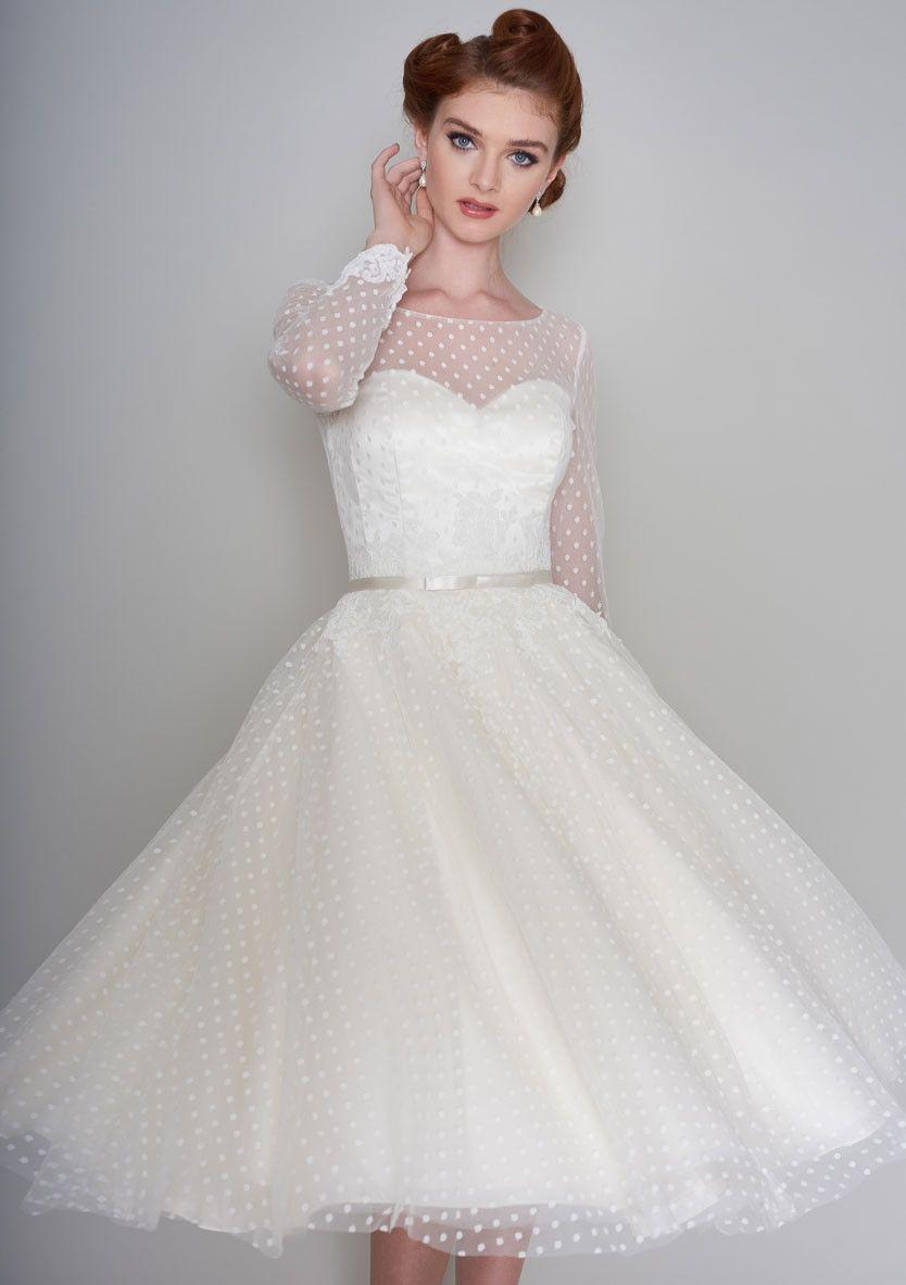 86 Maisey Fifties Style Tea Length Wedding Dress In Dotty Tulle And Lace Tea Length Wedding Dress Short Wedding Dress Bow Wedding Dress [ 1183 x 834 Pixel ]
