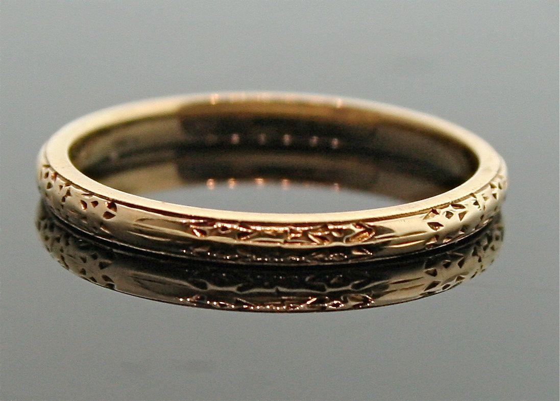 Antique 18k Rose Gold Engraved Wedding Band Ring Wedding