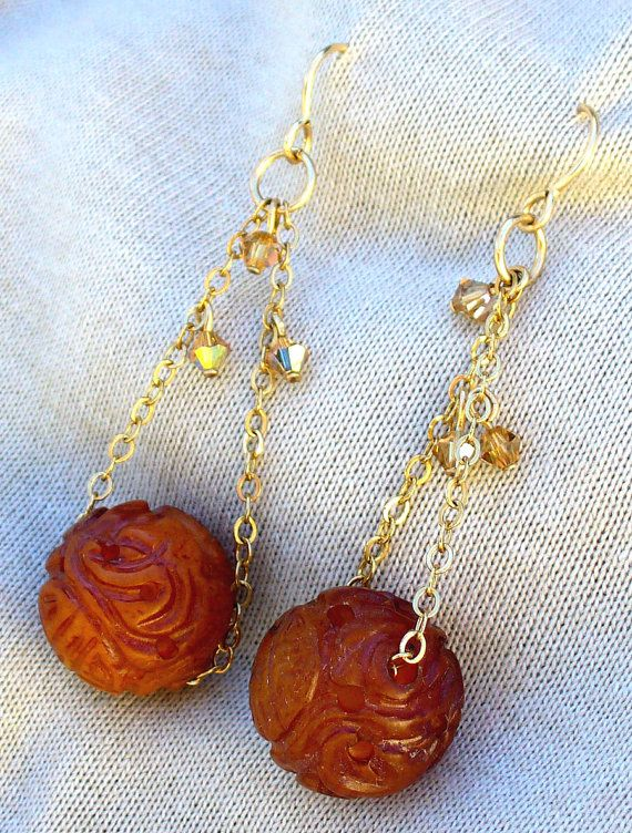Chinese Carved Carnelian Drop Earrings by KipajiPraiseJewelry, $27.00