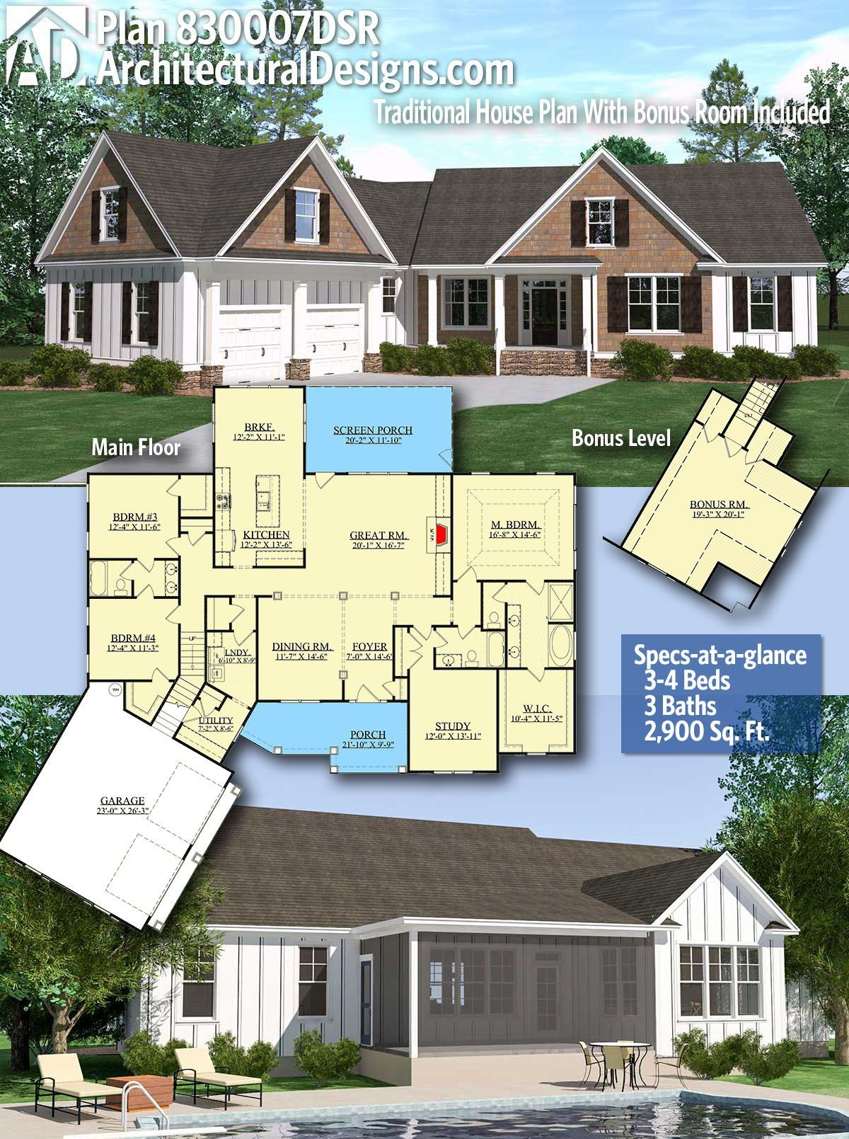 Plan 830007dsr Traditional House Plan With Bonus Room Included