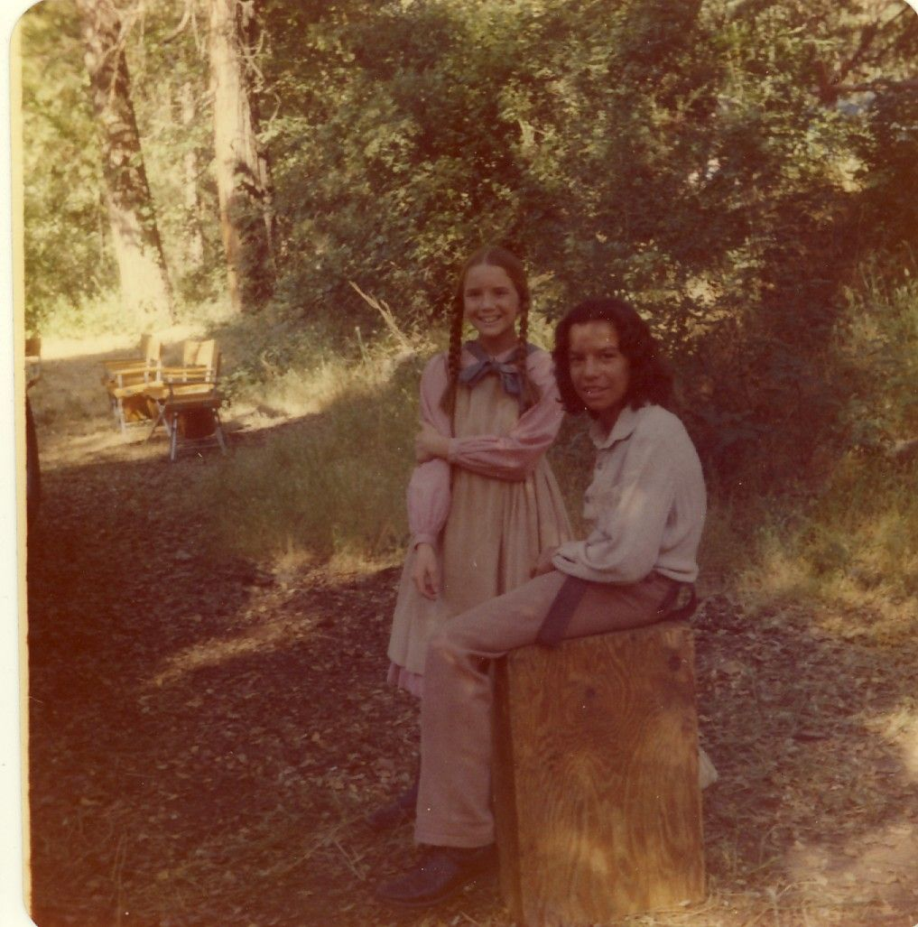 """Melissa Gilbert and Caesar Ramirez """"Joseph Stokes/Spotted Eagle"""" are photographed off the set in 1977 during the shooting of """"Injun Kid."""" It was a powerful exploration of discrimination and bigotry as only Little House could do it. Victor French directed."""